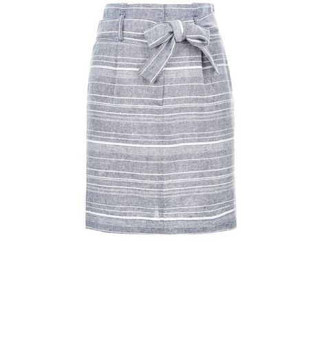 Blue Linen Mix Stripe Tie Waist Skirt  | New Look
