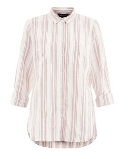 White Stripe Double Pocket Roll Sleeve Shirt  | New Look