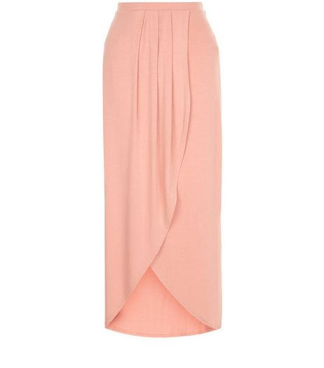 Mid Pink Wrap Front Maxi Skirt | New Look