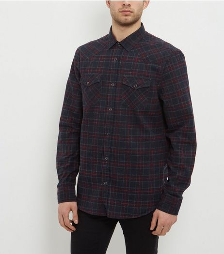 Navy Check Long Sleeve Shirt | New Look
