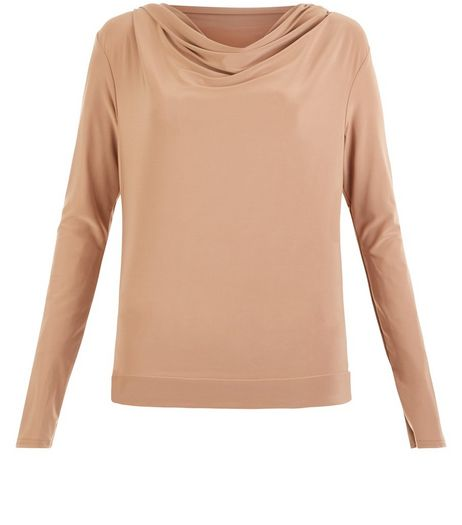 Loving This Camel Cowl Neck Open Back Top  | New Look