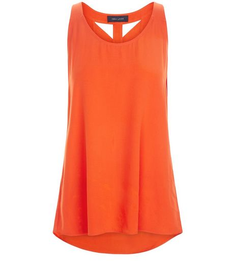 Bright Orange Lattice Back Shell Top | New Look