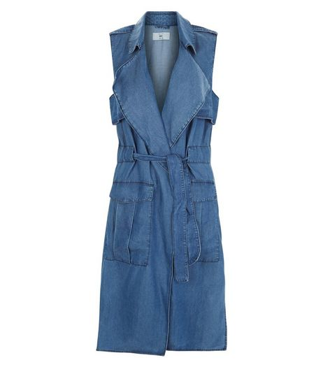 Blue Denim Sleeveless Jacket  | New Look