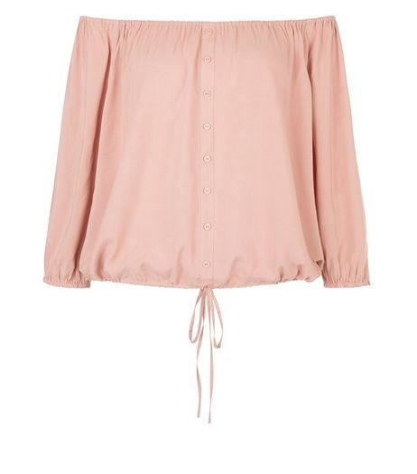 Mid Pink Button Front Bardot Neck Top  | New Look