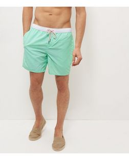 Mint Green Contrast Trim Swim Shorts  | New Look
