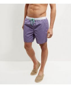 Lilac Contrast Trim Swim Shorts  | New Look