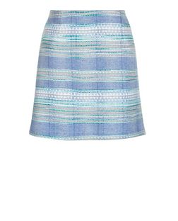 Pale Blue Jacquard Stripe A-Line Skirt | New Look