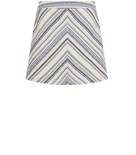 Blue Chevron Jacquard Stripe Mini Skirt  | New Look