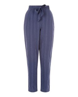 Blue Linen Mix Stripe Tie Waist Trousers  | New Look