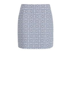 White Tile Jacquard Mini Skirt  | New Look