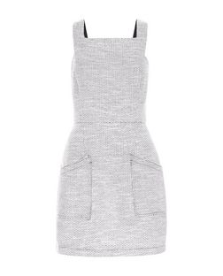 Grey Geo Jacquard Pinafore Dress  | New Look