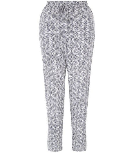 Blue Tile Print Joggers  | New Look