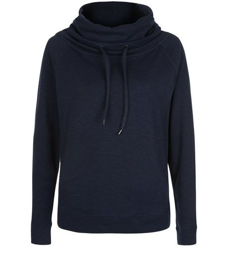 Navy Cowl Neck Sports Jumper  | New Look