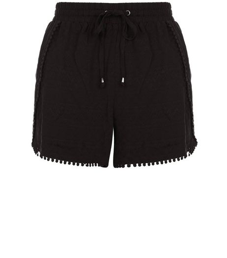 Petite Black Textured Pom Pom Trim Shorts | New Look