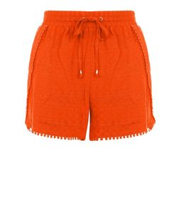 Petite Orange Textured Pom Pom Trim Shorts | New Look
