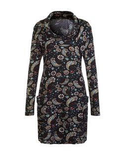 Mela Black Paisley Print Cowl Neck Tunic | New Look
