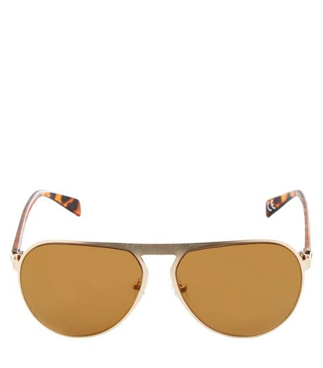 Gold Tortoiseshell Print Pilot Sunglasses  | New Look