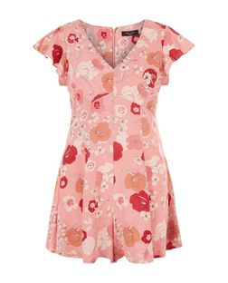 Petite Orange Floral Print Flutter Sleeve Playsuit  | New Look