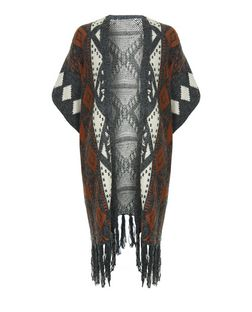 Mela Grey Aztec Print Fringed Cardigan  | New Look