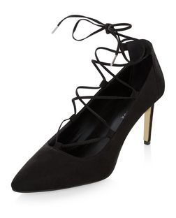 Wide Fit Black Pointed Ghillie Heels  | New Look