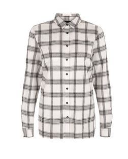 White Grid Check Split Side Long Sleeve Shirt  | New Look