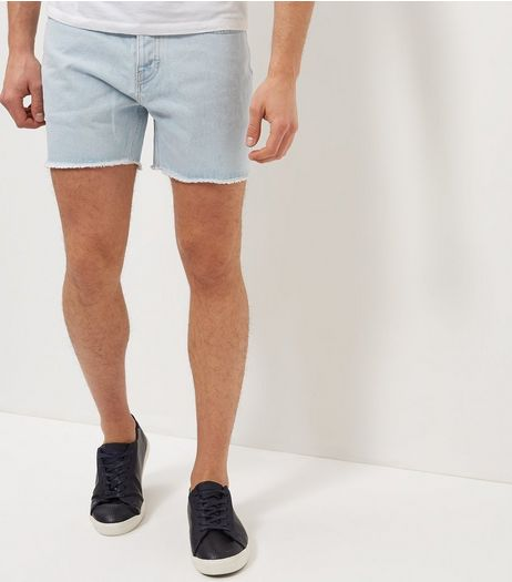 Pale Blue Fray Hem Denim Shorts | New Look