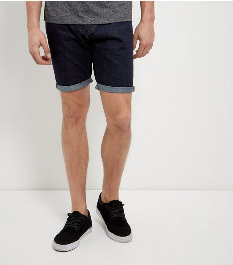 Navy Turn Up Denim Shorts  | New Look