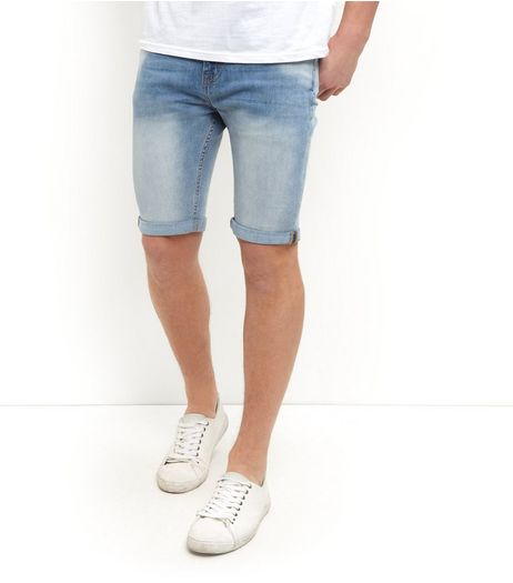 Pale Blue Turn Up Skinny Denim Shorts  | New Look