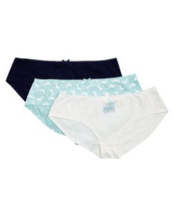 Teens 3 Pack Mint Green Navy and White Unicorn Print Briefs | New Look