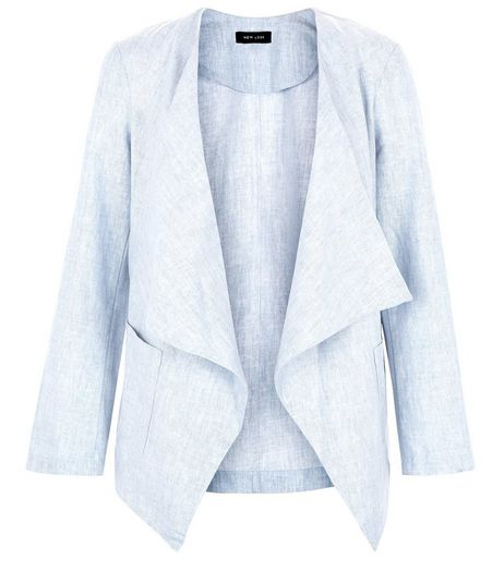 Pale Blue Textured Waterfall Blazer  | New Look