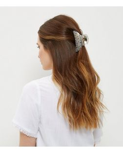 Grey Ditsy Floral Bulldog Clip | New Look