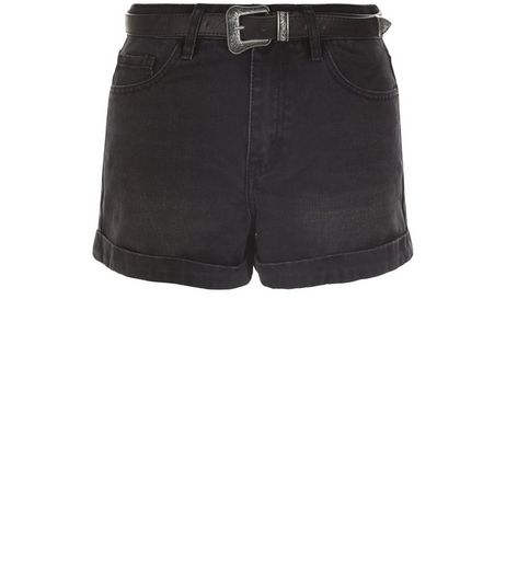Black Turn Up Belted Mom Denim Shorts  | New Look
