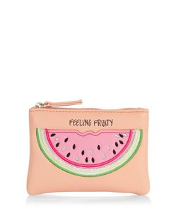 Pink Feeling Fruity Watermelon Zip Top Coin Purse  | New Look