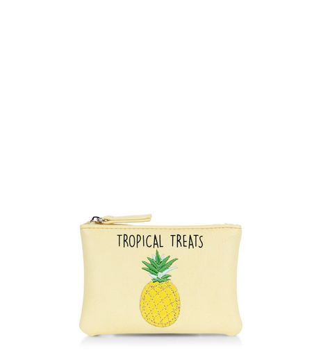 Yellow Tropical Treats Pineapple Zip Top Coin Purse  | New Look