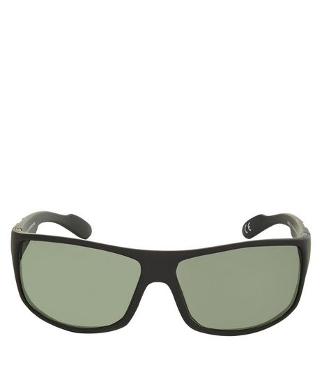 Black Rubber Coated Sunglasses  | New Look