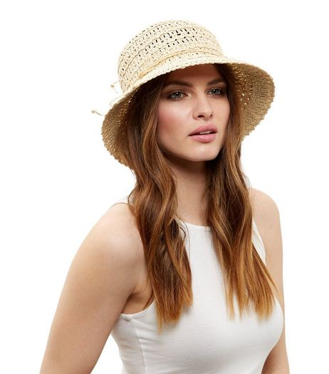 Stone Straw String Trim Bucket Hat | New Look