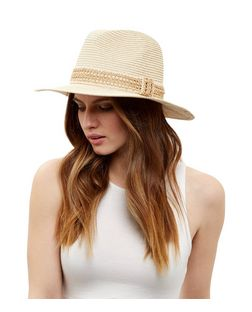 Stone Contrast Panel Fedora  | New Look