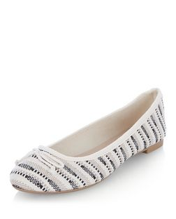 Black Woven Stripe Ballet Pumps | New Look