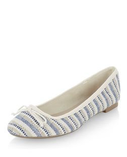 Blue Woven Stripe Ballet Pumps | New Look