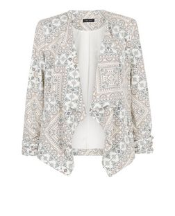 White Aztec Print Waterfall Blazer | New Look
