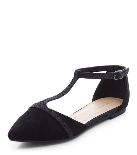 Black T-Bar Strap Pointed Pumps  | New Look