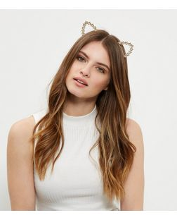 Gold Flower Cat Ear Headband  | New Look