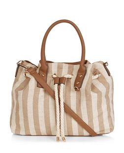 Brown Stripe Rope Drawstring Tote Bag  | New Look