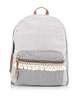 Blue Stripe Print Tassel Trim Backpack  | New Look