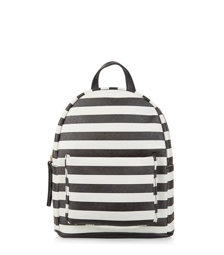 Monochrome Stripe Print Mini Backpack | New Look
