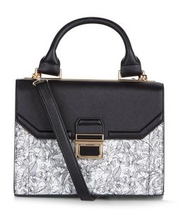 Black Floral Print Panel Structured Bag  | New Look