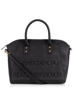Black 3D Floral Embellished Tote Bag  | New Look