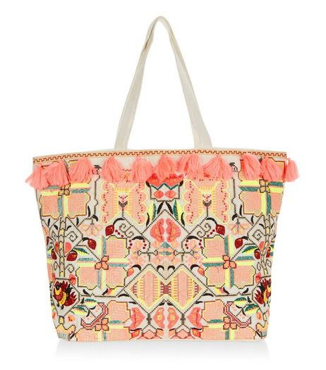 Orange Tassel Embroidered Tote Bag | New Look