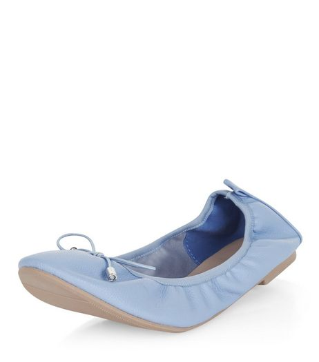 Wide Fit Pale Blue Elasticated Ballet Pumps | New Look