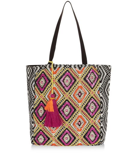 Multicoloured Diamond Print Tassel Shopper Bag | New Look